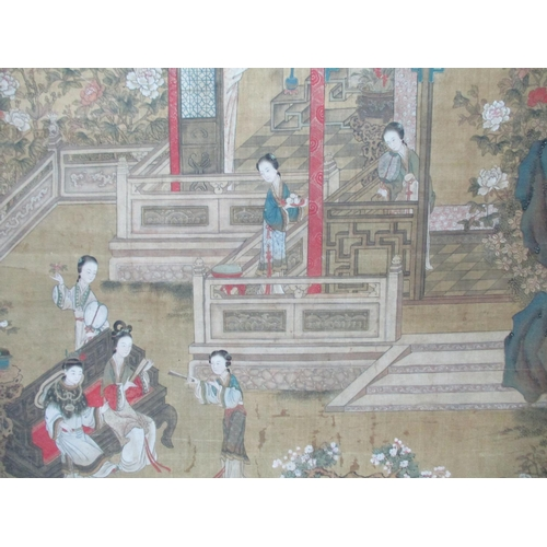 267 - 19th Century Japanese School - a garden scene with women on and by a bench, holding fans and two wom...