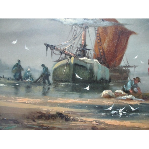 268 - Gudrun Sibbons - a coastal scene with fishermen and boats, two horses, a dog and birds, oil on plywo...