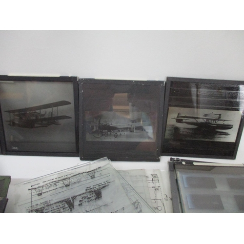 276 - Two boxes of aviation related and other lantern slides and glass plates to include different types o...