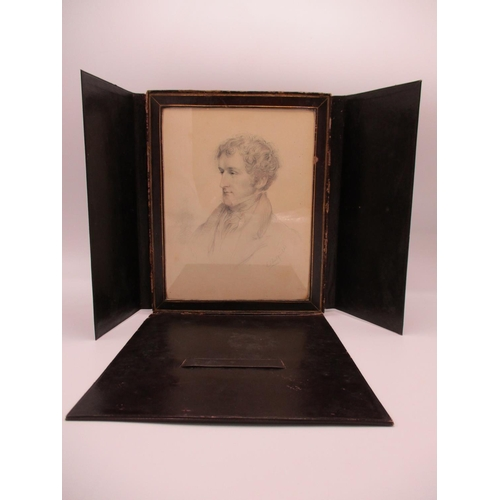 284 - Chatfield - a head and shoulder portrait of a young man, pencil, signed lower right, 8 1/4
