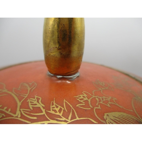 289 - An early 20th century Chinese wedding vase and cover of ovoid form decorated in gilt with a bird on ...