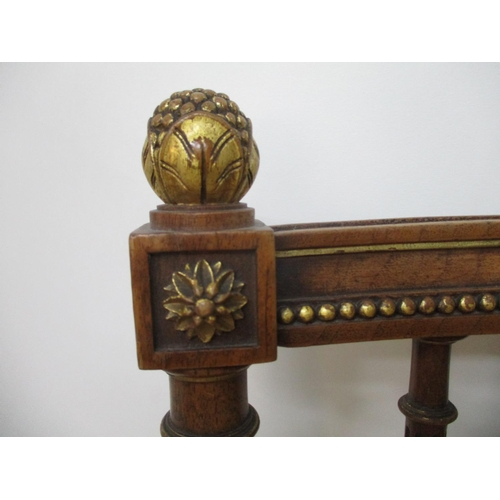 295 - A late 19th Century Louis XVI style walnut and gilt salon chair with a wreath carved crest, a spindl...