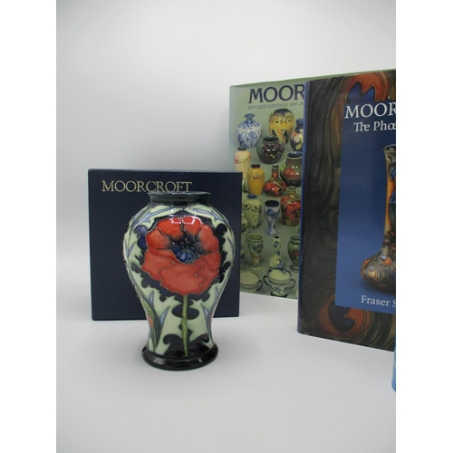 302 - A Moorcroft Poppy pattern vase, tube lined by Julie Harrison, of baluster form, decorated in red, gr...