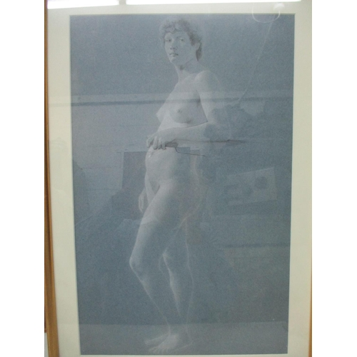 319 - Two 19th century nude portraits, one of a woman leaning on a wooden bar, pencil and white chalk, 17 ...