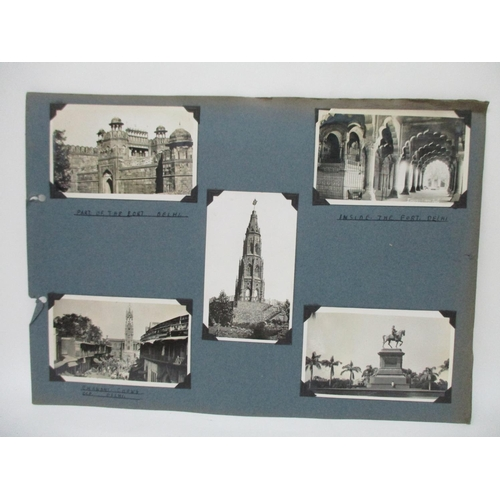 323 - A 1930's photograph album to include Indian forts, landscapes and portraits, a shooting trip, milita...