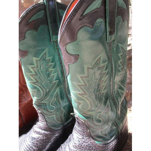 47 - Cowboy boots - a pair of Lucchese 2000 green and black leather cowboy boots, a pair of Lucchese 2000...