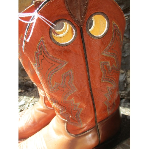 48 - Cowboy boots - a pair of mid brown and orange leather cowboy boots, a pair of Dan Post dark brown le...