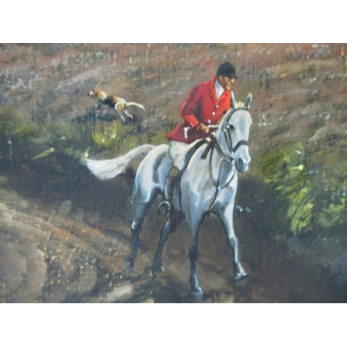 265 - Donald Ayres - a hunting scene with men on horseback and hounds in an open landscape with the sea be...