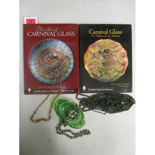 60 - Two books on collecting Carnival glass, an American depression glass bowl and three Carnival glass b...