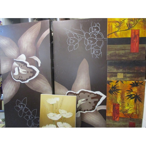 61 - Five contemporary canvas pictures, two of which have an oriental influence Location: LWF...
