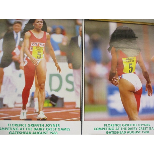 64 - Two Florence Griffith-Joyner posters circa 1988, four other prints to include limited editions and t...