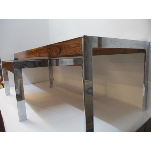 325 - Richard Young for Merrow Associates through Harrods - two coffee tables, rosewood veneered and chrom...