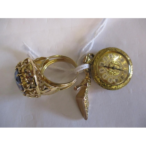 10 - A yellow metal and paste stone dress ring and 2 other yellow metal items Location: CAB...