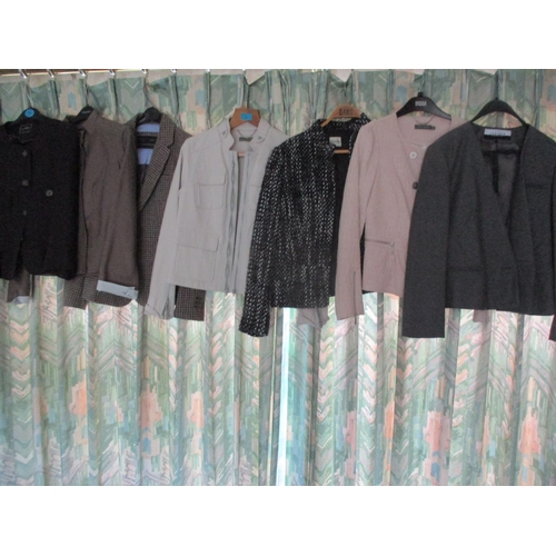 2 - A quantity of ladies jackets to include a Mint Velvet pale grey leather effect jacket, Hobbs, Viyell...