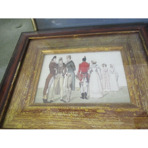 22 - A framed and glazed Lowry print, unsigned, together with an abstract oil and a framed coloured print...