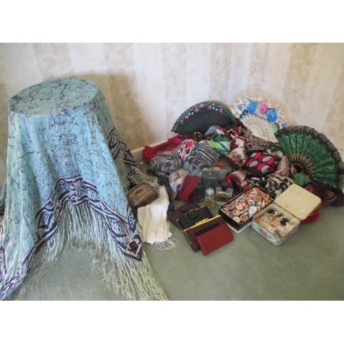 25 - A quantity of scarves and handkerchiefs to include an Indian silk Frevell piano shawl together with ...
