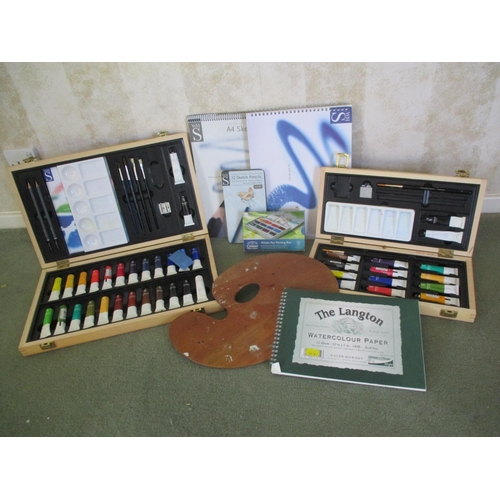27 - Artists accessories to include two boxes of watercolour paints, an easel and sketch books Location: ...