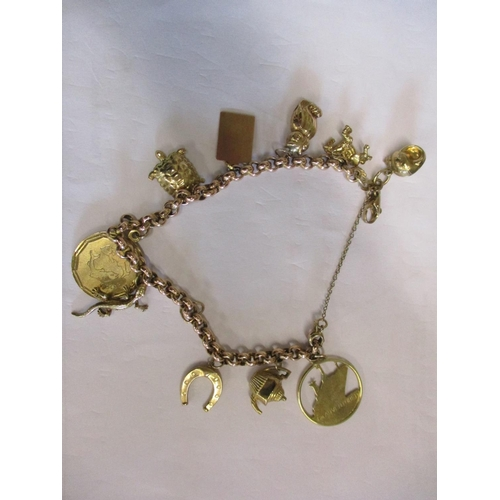 6 - A 9ct gold and yellow metal charm bracelet, having 10 charms, weight 20.07g Location: CAB...