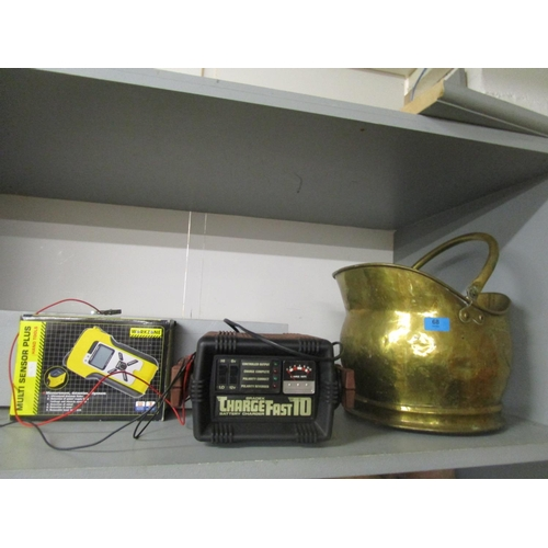 68 - A Bradex charge fast 10 battery charger, boxed multi sensor plus and a brass coal scuttle Location: ...