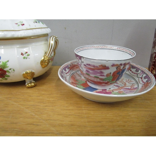 73 - Two late 18th/early 19th century Newhall porcelain tea bowls and saucers, a Derby porcelain 19th cen...