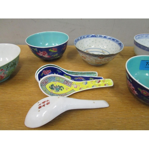 74 - A group of Chinese porcelain rice bowls and spoon s and a boxed brass trinket box with inset carved ...