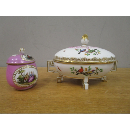 75 - A 19th century Meissen footed pot and cover with twin handles, flower bud finial and hand painted vi...