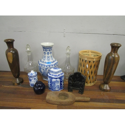 89 - Selection of oriental porcelain vases and other ornaments, two large wooden candle holders, and two ...