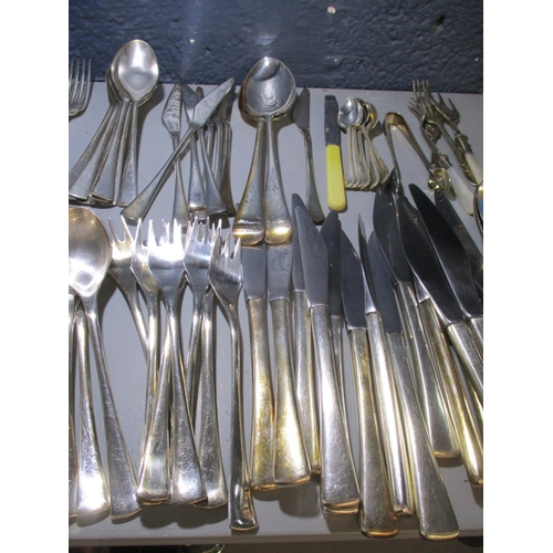 15 - Silver plated cutlery and flatware, to include Arthur Price knives and forks Location: 3:1...