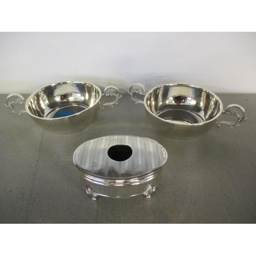 18 - A pair of silver porringers and a small footed silver trinket box, weight 196.3g Location: 11:1...