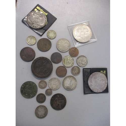 20 - A collection of William and Mary and later coins, to include William and Mary, penny and half penny,...