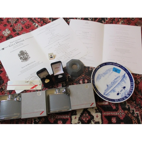 24 - Concorde and cruising interest - Two boxed British Airways Concorde hip flasks and luggage tag, toge...