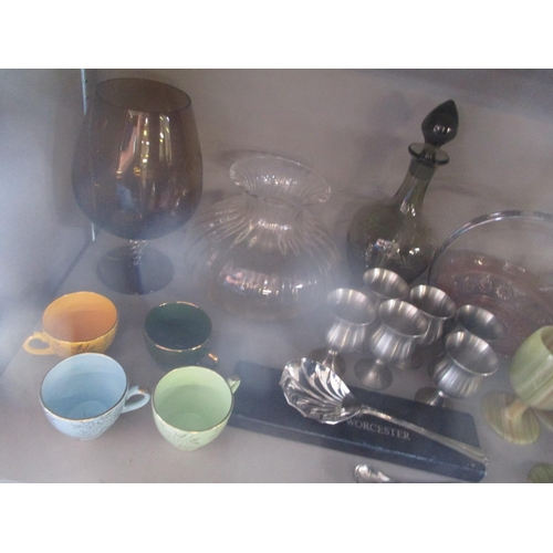 29 - A mixed lot to include a mid 20th century green tinted decanter with etched decoration, onyx goblets...