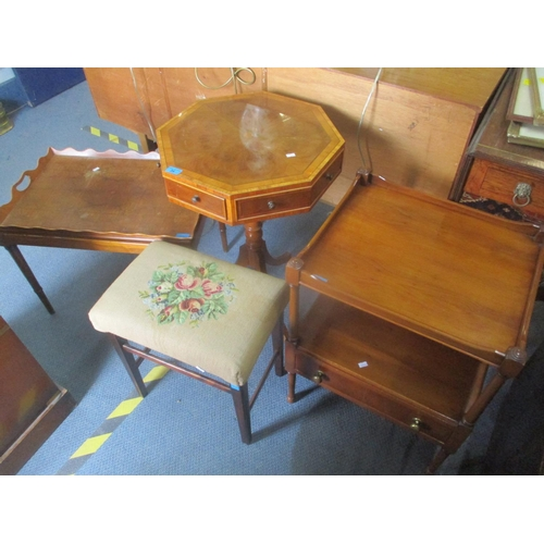 34 - Mixed furniture to include a yew octagonal topped occasional table, two tier side table, stool and a...