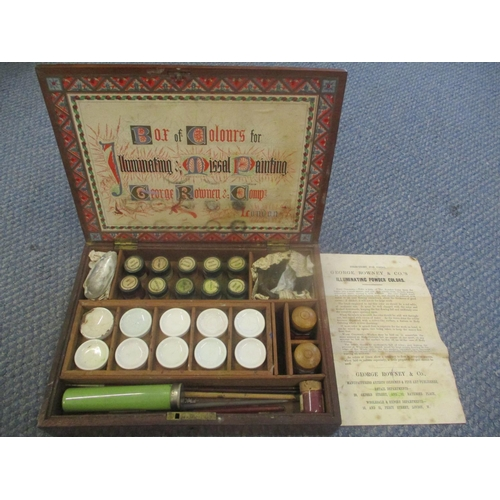 37 - An early 20th Century  George Rowney & Co. paint box with label to the lid inscribed 'Box of colours...