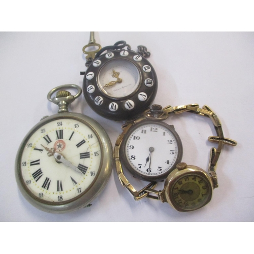 41 - An early 20th century 9ct gold cased ladies wristwatch on a gold plated strap, together with three p...