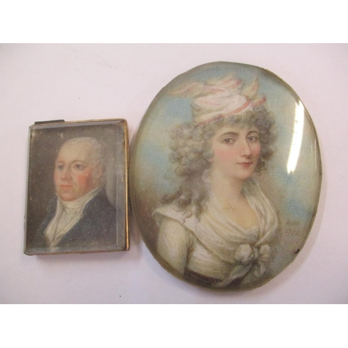 44 - Two Georgian miniatures, one depicting a lady with inscription to the reverse Location: CAB...
