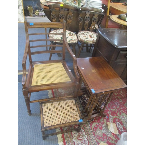 52 - Mixed furniture to include a Georgian carver chair, nest of three tables and a stool Location: C...