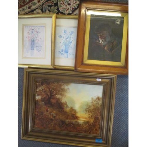 54 - Mixed pictures to include a Keith Jones oil on panel, circa. 1900 oil depicting an old man smoking a...