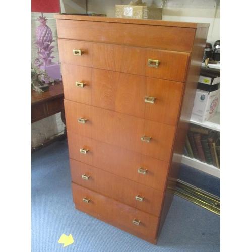65 - A mid 20th century retro teak tallboy/chest of six drawers 48 1/4 H x 23 3/4 W Location: RWF...