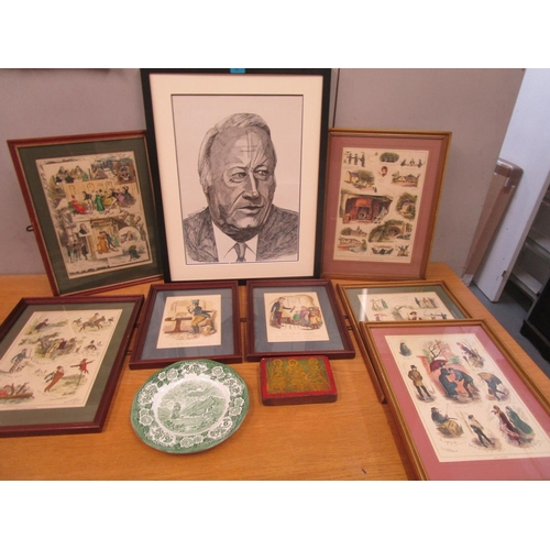 90 - Kevin Geary - Ted Heath pen signed and dated 71, along with coloured prints, a plate and a 20th Cent...