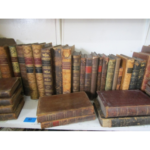 93 - A quantity of leather bound antiquarian books to include Memoirs of Stephen Grellet Vol 1 & II Locat...