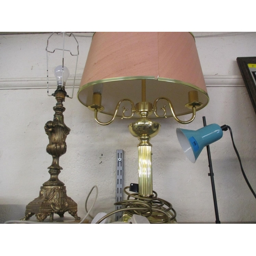 96 - Mid to late 20 century table lamps to include a vintage Italian Venita Lumi turquoise enamelled desk...