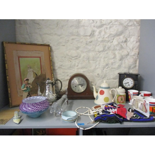30 - An early 20th century slate clock, mixed ceramics, Art glass and other mixed items Location: LWB...
