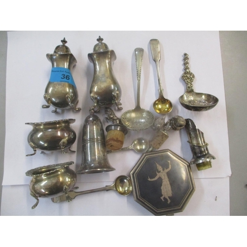 36 - Silver and silver plated items to include a condiment set, a silver salt spoon and a sterling silver...