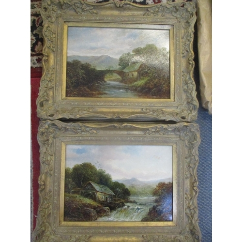 53 - Richard Mander - Two oil on boards depicting watermills with mountains to the background 13 x 9 1/4,...
