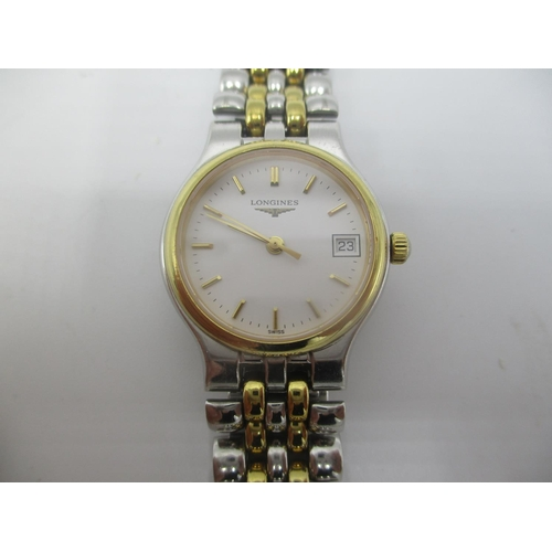 13 - A Longines Les Grandes Classiques quartz ladies, stainless steel and gold plated wristwatch having d...