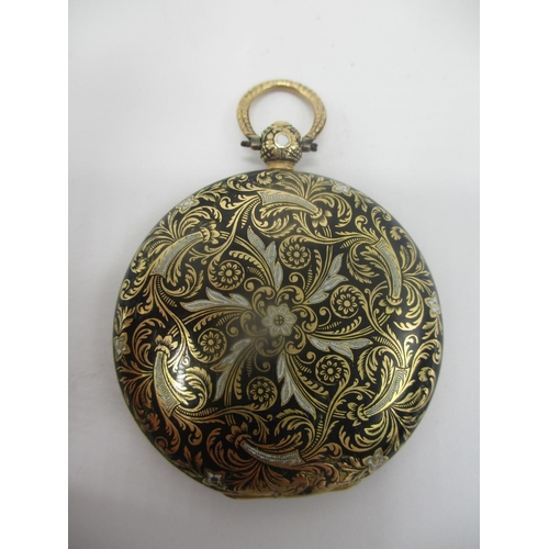 19 - A late 19th century French gold coloured and enamelled, cylinder movement key wound pocket watch, th...