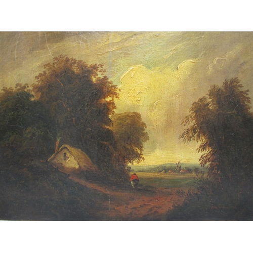 224 - John Crome -a country scene with a thatched cottage, a woman on a path, trees, a windmill and cottag...