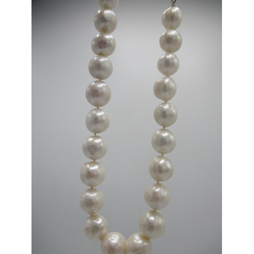 250 - A pearl necklace with a 9ct white gold ball clip...