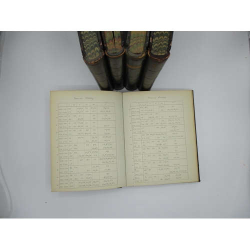 257 - Late 19th/early 20th century chess related - four volumes of handwritten books with reference to che...